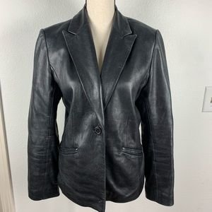 Alfani Black Soft Leather Blazer